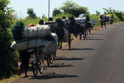 Coal transport with bycicle in Malawi