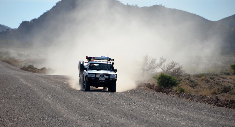 On a dusty road in Australia