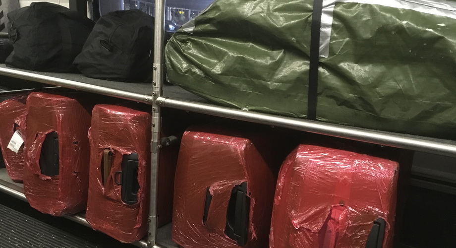Suitcases on world tour