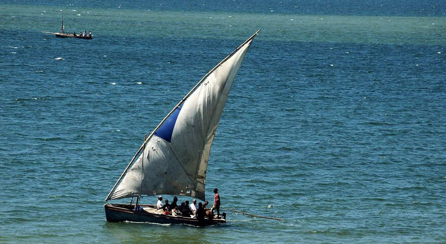 Typical means of travel and transportation at the coast: Dhow